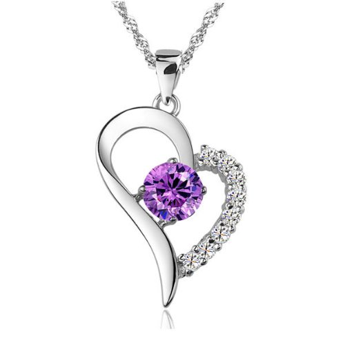 """Rhodium Plated Purple Heart Amethyst Pendant Necklace with Sterling Silver Ripple Chain 18"""" (in Organza Bag)"""