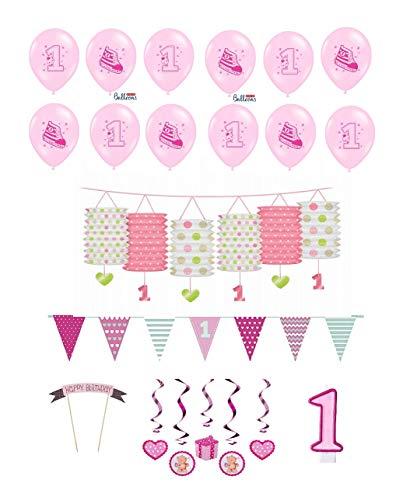 Feste Feiern Geburtstagsdeko 1. Geburtstag Mädchen I 17 Teile All-In-One Deko Luftballons Laterne Swirl Wimpel Rosa Party-Set Happy Birthday