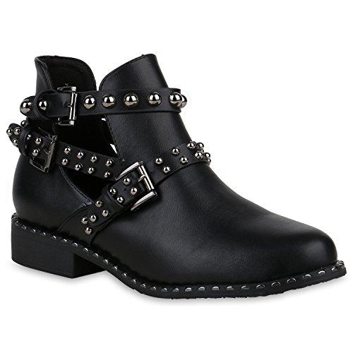 Damen Ankle Boots Nieten Stiefeletten Cut Outs Leder-Optik Schuhe 159107 Schwarz 39 Flandell