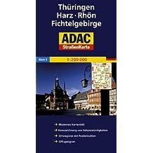 ADAC Straßenkarte Deutschland, Thüringen, Harz, Rhön, Fichtelgebirge: 1:200000