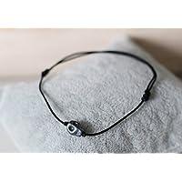 Herren Armband Totenkopf grau matt Skull Makramee Freundschaftsarmband Bracelet Armband Macrame verschiedene Farben