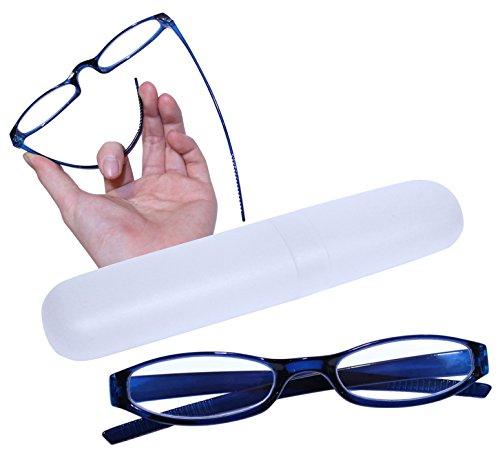 Preisvergleich Produktbild Flexible und leichte Lesebrille Lesehilfe mit Brillenetui in 5 Farben - kompakt und stabil - LB005 (+3.00 Dioptrien, LB005 - Blau)