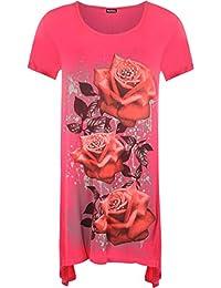 WearAll Ladies Plus Size Glitter Rose Print Hanky Hem Womens Short Sleeve Long Top Sizes 12-30