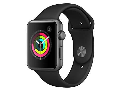 Apple Watch Series 3, 42 mm, GPS, Aluminium Gehäuse, Space Grau mit Sport-Armband, Schwarz, 2017