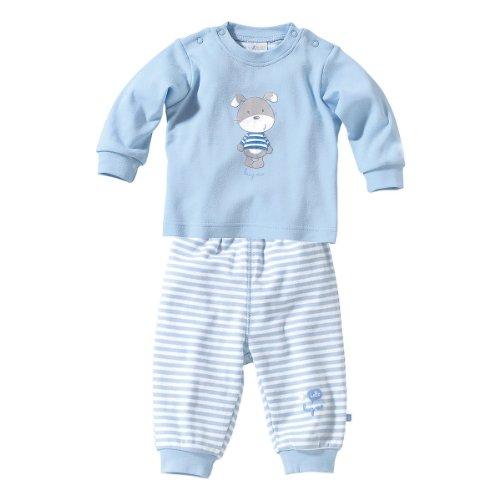 BORNINO Schlafanzug lang Baby-Pyjama Baby-Nachtwäsche, Größe 86/92, hellblau