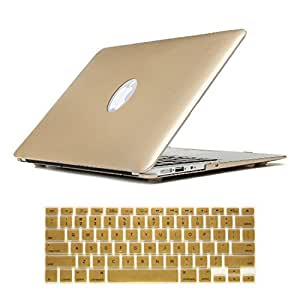 """Dealgadgets Gold Plastic Hard Shell Case Cover for Macbook Air 13"""" 13.3"""" A1369 & A1466 with Silicone Keyboard Cover Skin Stickers Protector"""