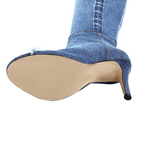 ENMAYER Femmes Denim Matériel Chaussures sur le genou pour femmes Talons hauts Zipper Casual Stiletto Boots Bleu clair