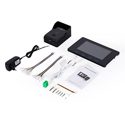 Video-Türsprechanlage 2-Draht Video Intercom System 7-Zoll-Farb-Indoor-Monitor und HD-Kamera im Freien Videotürklingel mit 49ft Kabeln 7-farb-video