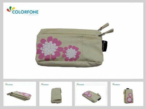 Poche pour téléphone portable sac en tissu floral motif floral universel 13x7 cm beige élégant femmes fille Case Boucle de ceinture de mode smartphones