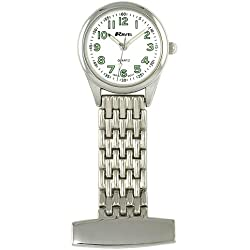 Ravel Polished Chrome Nurses Fob Watch