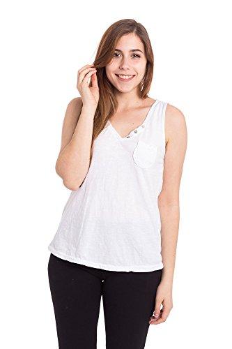 Abbino Basics 6674 Canotte Tops Donne - Made in Italy - 4 Colori - Primavera Estate Autunno Semplici Maniche Tank Tops Donne Shirts Casual Saldi Bluse Maglie Tempo Libero - Taglia Unica Bianco