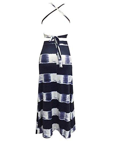 Auxo Donna Vestiti Striscia Pendenza Abito da Sera Senza Maniche Lungo Spiaggia di Sabbia Blu