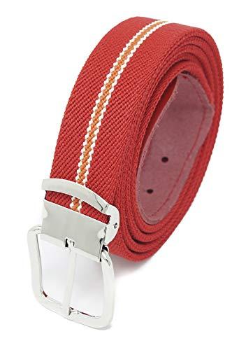 Xeira  Hochwertiger Elastik- Stoffgürtel Rot/Weiß/Orange Gestreiften mit Leder Endstück -