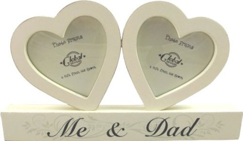 Cuore in legno photo frame–me and dad