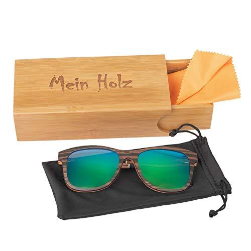 Mein Holz Sonnenbrille mit UV400 Gläsern und Superflex Komforttragebügel geliefert in Holzbox mit Softcover und Brillenputztuch (darkwood rainbow)