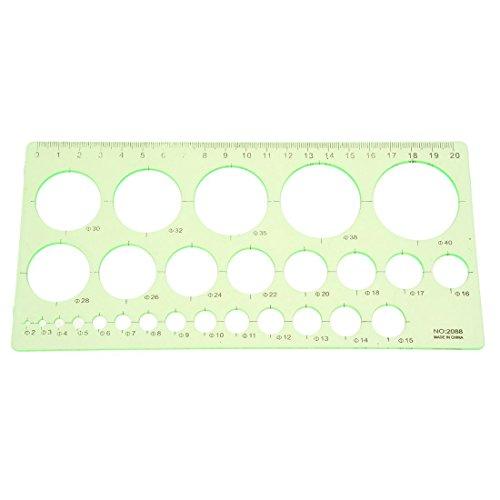 SODIAL(R) Verde Regla de plantilla de circulo de dibujo forma rectangula de estudiantes de plastico