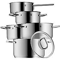 WMF Topf-Set, 5-teilig, Bratentopf Fleischtopf Stielkasserolle Intension Schüttrand Glasdeckel, Cromargan Edelstahl rostfrei poliert, induktionsgeeignet, spülmaschinengeeignet