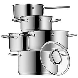 WMF Intension Topfset, 5-teilig mit Glasdeckel, Kochtopf, Stielkasserolle, Cromargan Edelstahl Poliert, induktionsgeeignet, spülmaschinengeeignet