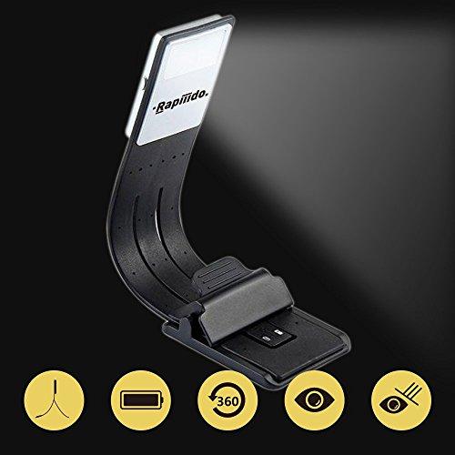 Rapiiido Lámpara Lectura Recargable USB Luz Libro LED Brillo Ajustable 4 Niveles Clip Magnético Marcador Fexible 360 Grados Perfecto para Kindle, Libro Papel, Mesilla de Noche, Emergencia, Camping, etc.