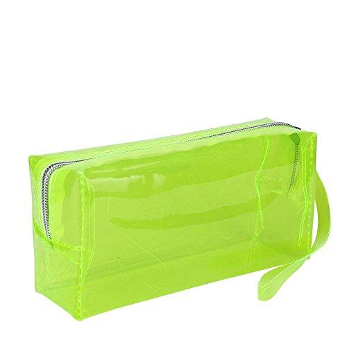 T.sewing 1pcs sacchetto cosmetico trasparente di caso di matita di colore di candy di modo per le signore degli studenti( rosa rossa )