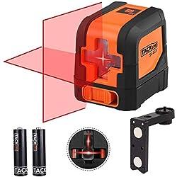Niveau Laser Croix 15m, Laser Horizontal et Verticale, Grand Angle de 110°, Verrouillable, Laser Rouge et Brillant, Support Pivotant Magnétique, IP54, Sac Inclus, Tacklife SC-L01
