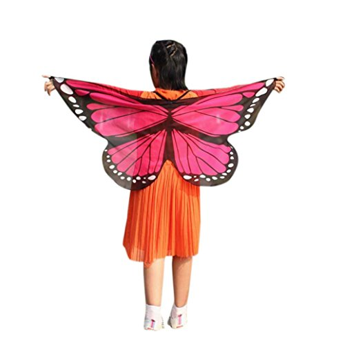 Dance Kostüm Jazz Le Hot - GJKK Kind Kinder Jungen Mädchen 118 * 48CM Weiche Gewebe Schmetterlings Flügel Schal Feenhafte Böhmischen Schmetterling Gedruckt Schal Kostüm Zubehör Faschingskostüme Kostüm Verkleidung (Hot Pink, F)