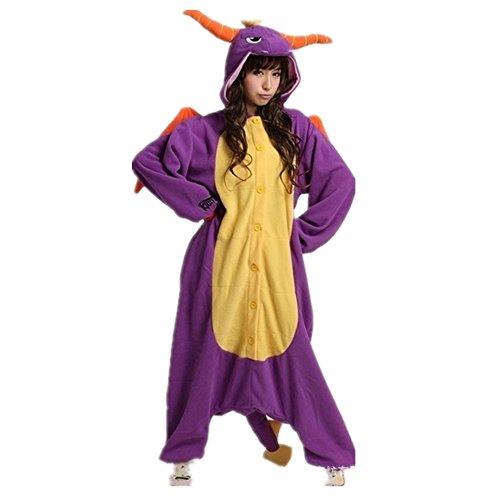 Misslight Einhorn Pyjama Damen Jumpsuits Tieroutfit Tierkostüme Schlafanzug Tier Sleepsuit mit Einhorn Kostüme festival tauglich Erwachsene (L, Lila Dinosaurier) (Dinosaurier Erwachsene Kostüme)