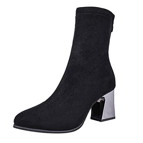 Hffan Damen Sexy Spitze Zehe High Heels Wildleder Stiefel mit Reißverschluss Blockabsatz Elegant Stiefeletten Boots Modisch Winterstiefel mit Absatz Fellstiefel(Schwarz,39EU)