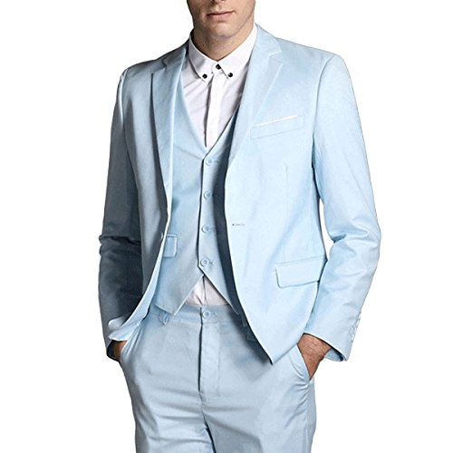 ... Herren Anzug Regular Fit Business Anzüge 3-Teilig Anzugjacke Anzughose  Weste Hell Blau