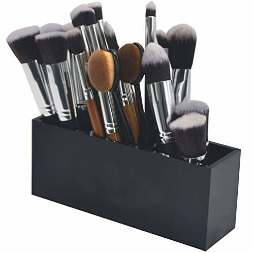 Lmeison Make-up Kosmetik 3 Slots Make-up Organizer Acryl  Bürsten Aufbewahrung 17.8 X 7 X 5.2 cm (schwarz) (Organizer Make-up Acryl Pinsel)