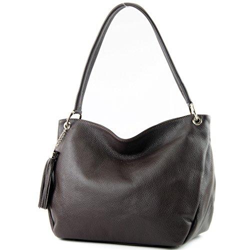 modamoda de de - ital bolsa de hombro/hombro hecha de cuero T154, Color:Dark Chocolate