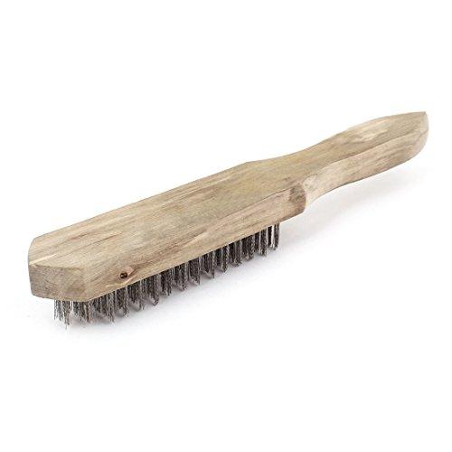Sourcingmap 27cm lungo manico in legno filo di acciaio inossidabile spazzola di pulizia strumento (Mano A Filo)