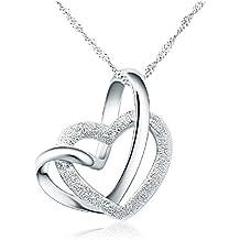 YFN - Collana in argento sterling 925 con pendente a forma di doppio cuore intrecciato