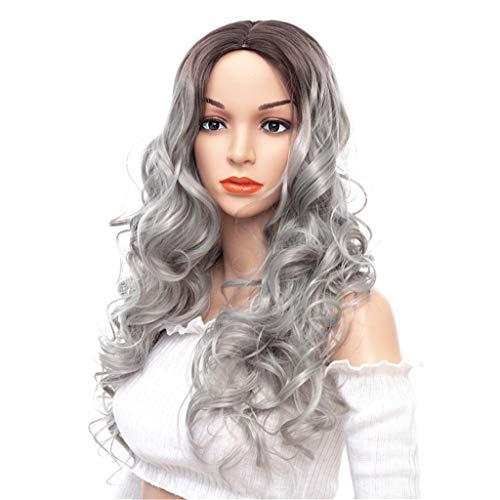 Perücke Frau langes Gelocktes Haar weiße Chemiefaser Perücke Mitteldurchtrennung der Hohen Dichte Hitzebeständige Hochtemperaturdraht-lange ()