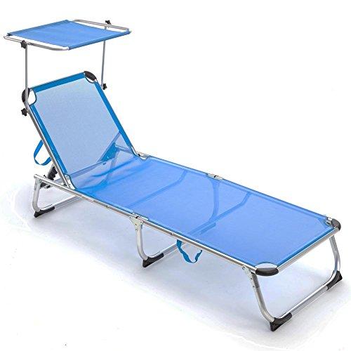 Bakaji lettino prendisole con tettuccio parasole brandina in alluminio pieghevole sdraio mare blu salvaspazio