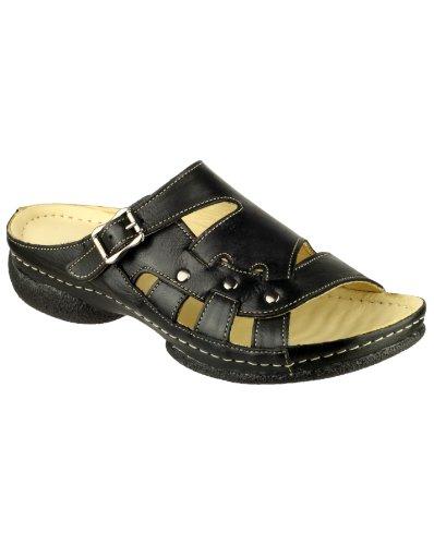 Cotswold Leach Dames Summer Sandal Femmes Chaussures Mule En Cuir Black