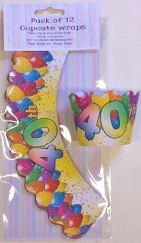 12 x 40th Birthday design Cupcake wraps age cake decoration