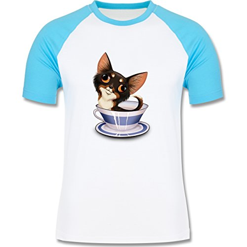 Hunde - Teacup Chihuahua - zweifarbiges Baseballshirt für Männer Weiß/Türkis