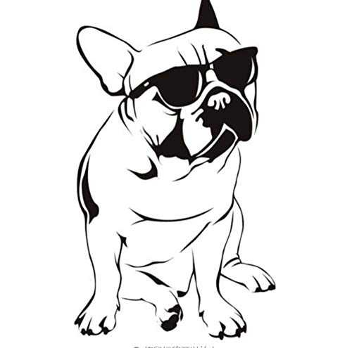 Wandaufkleber Aufkleber Wandbild für Mädchen Jungen Vinyl für Home Art Decor Zitate Bulldog mit Sonnenbrille 44x78cm