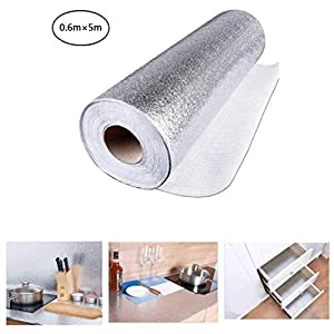 AiYoYo 61x500cm Aufkleber Küchen Küchenfolie Selbstklebende Hitzebestandige Spritzschutz Aluminium Folie DIY Möbel Wasserdicht Tapete Anti-Schimmel Öl Resistent für Schrank, Möbel, Tische