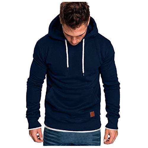 Fenverk Männer Sweatshirt Langarm Herbst Winter Herren Kapuzenpullover | Sale | Casual Sweatshirt Hoodies Top Bluse Trainingsanzüge(A Marine,XL)