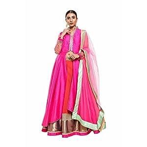 Pushp Paridhan New Collection Traditional Ethnic Wear Mirror Work, Machine Work Hot Pink and Orange Lehenga Choli Set For Women