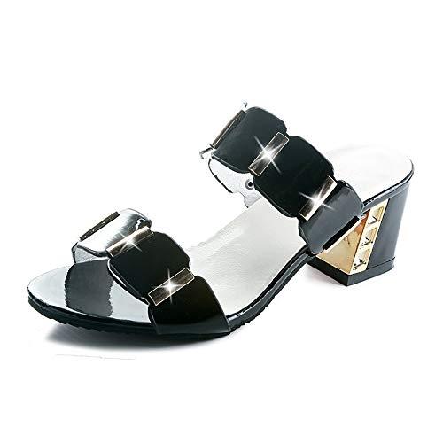 Mamrar Women's Summer New Sandals Fashion Wild Damenschuhe In der Single-Slip Slippers EU Größe 34-43 (Color : Black, Size : 40EU) -