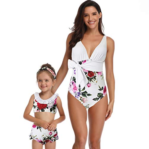 609b2c39275 Lazzgirl Mother and Daughter Print Two Piece Swimsuit Matching Swimsuit  Clothing(White,3-