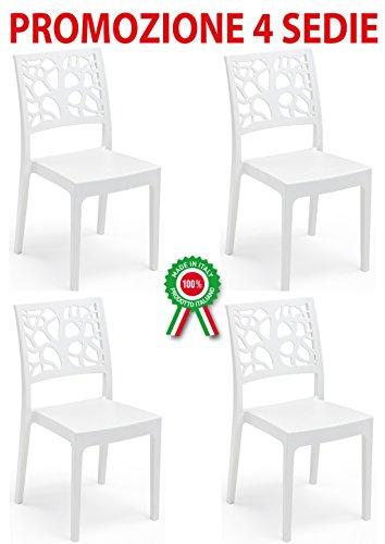 4Stück Sessel Stuhl Teti in Hartharz von weißem Kunststoff stapelbar Rückenlehne mit Baum-Bar Restaurant für Garten Pub (Stapelbar Baum)