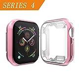 Cerike kompatibler Apple Watch 44mm Displayschutz, Soft Slim FullAround Protective hülle iWatch 4 Schutzhülle für Apple Watch Series 4 Smartwatch (44MM, Pink)
