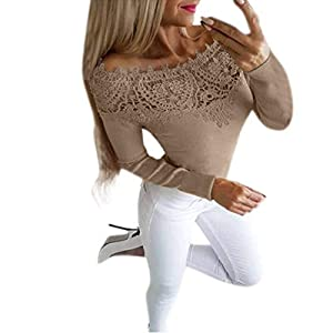 Junjie 2019 Damen Frauen Sommer Herbst Lange Hülsen Solide Spitze Reizvolle Feste Oberseiten Blusen Shirt Sweatshirt Blumen Damenkleid
