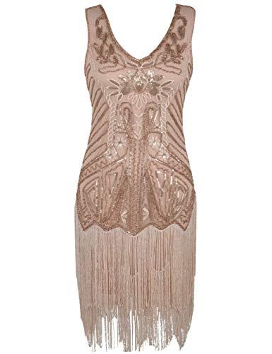 PrettyGuide Damen Flapper Kleid Blumen Stickerei Pailletten Quaste Cocktail 1920 Kleid Rosé Gold M