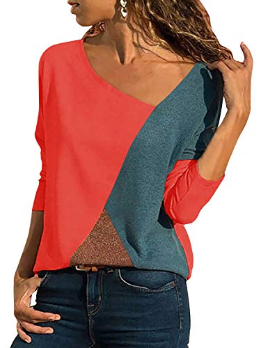 Damen Casual Patchwork Farbblock Langarm T-Shirt Asymmetrischer V-Ausschnitt Langarmshirt Tops Sweatshirt Tunika Top Pullover Bluse Oberteil (Orange, Medium)