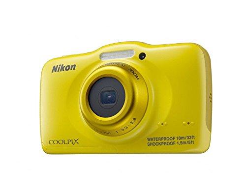 Nikon Coolpix S32 Digitalkamera (13 Megapixel, 3-fach optischer Weitwinkel-Zoom, 6,7 cm (2,7 Zoll) LCD-Monitor, Full-HD-Videofunktion, Kreativ-Effekte, wasserdicht, stoßfest) gelb